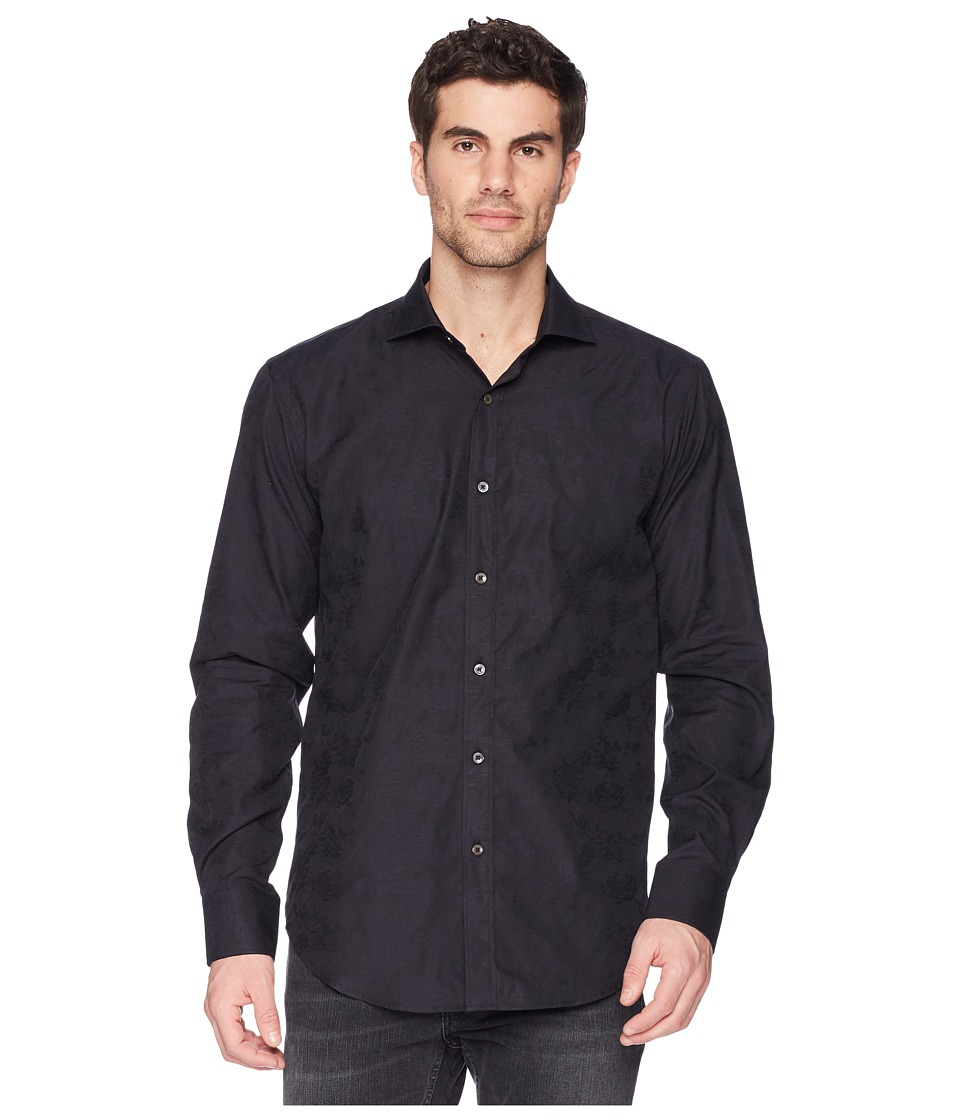 BUGATCHI - Shaped Fit Long Sleeve Woven Shirt (Black) Mens Long Sleeve Button Up