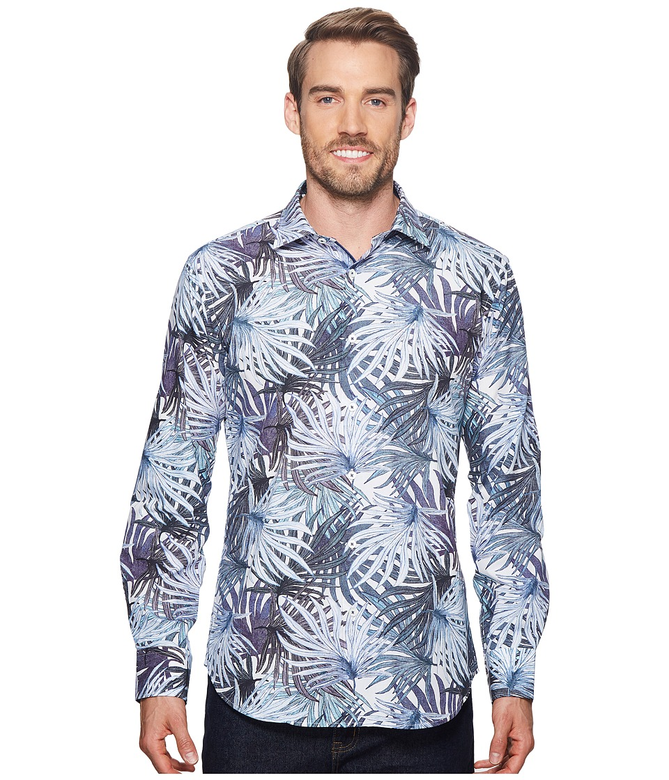 BUGATCHI - Shaped Fit Palm Frond Woven Shirt (Periwinkle) Mens Long Sleeve Pullover