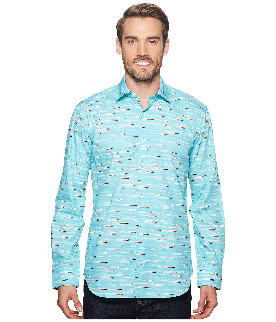 BUGATCHI - Shaped Fit Speed Boat Woven Shirt (Aqua) Mens Long Sleeve Pullover