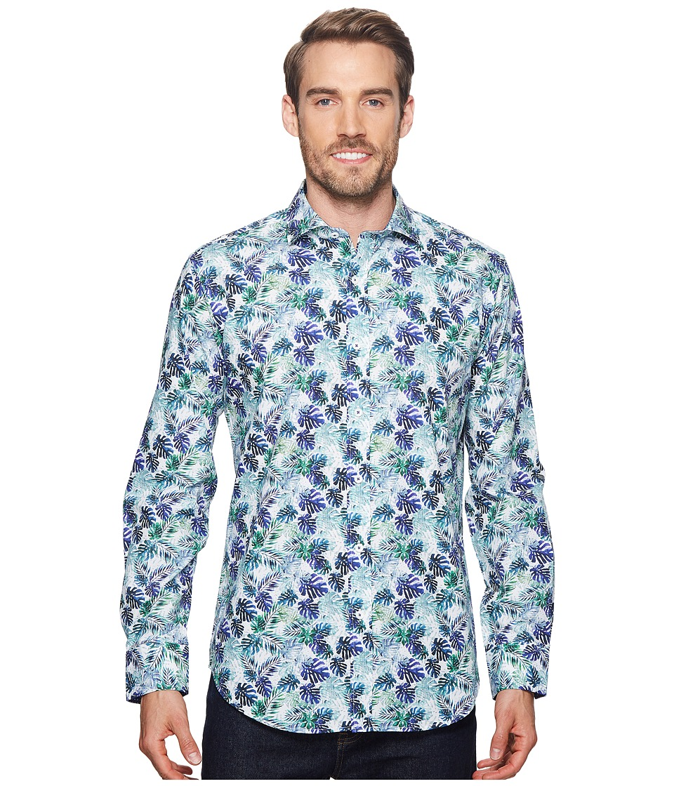 BUGATCHI - Shaped Fit Long Sleeve Woven Shirt (Amethyst) Mens Long Sleeve Button Up