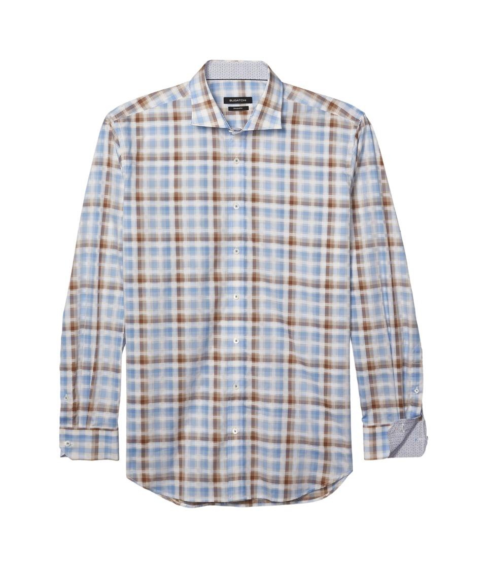 BUGATCHI - Shaped Fit Long Sleeve Plaid Woven Shirt (Mocha) Mens Long Sleeve Button Up