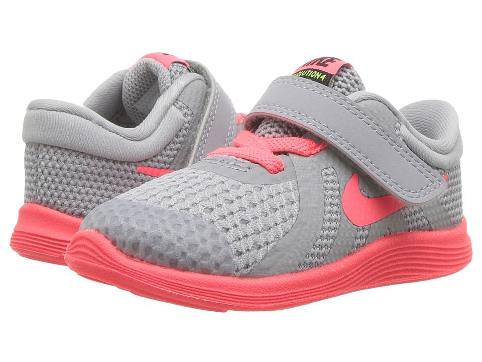 Nike Kids - Revolution 4 Fade (Infant/Toddler) (Wolf Grey/Hot Punch/Volt/Black) Girls Shoes
