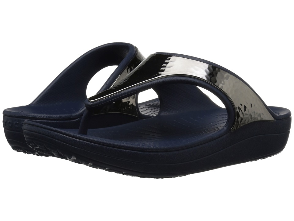 Crocs Sloane Hammered Metallic Flip (Navy/Navy) Women's Shoes