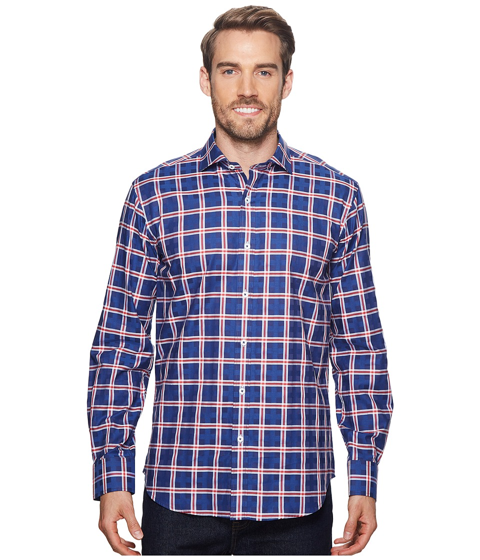 BUGATCHI - Shaped Fit Long Sleeve Plaid Woven Shirt (Navy 1) Mens Long Sleeve Button Up