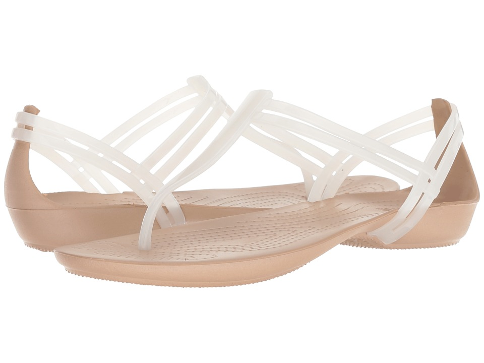 Crocs Isabella T-Strap (Oyster/Gold) Sandals