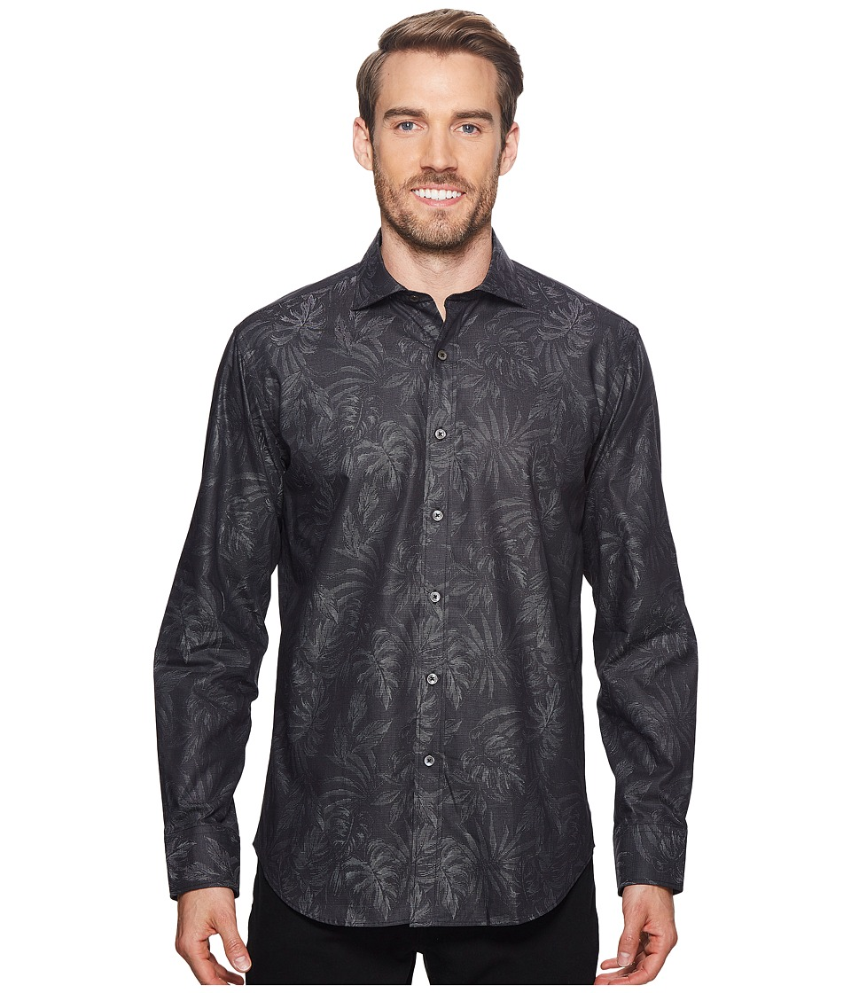 BUGATCHI - Shaped Fit Palm Fronds Woven Shirt (Black 1) Mens Long Sleeve Button Up