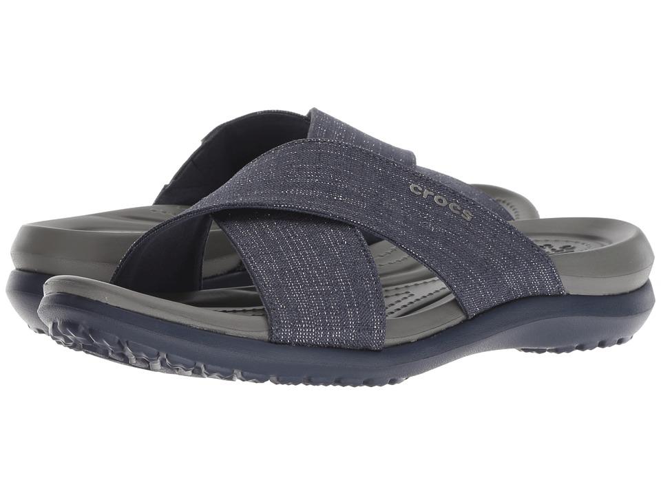 Crocs Capri Shimmer Xband (Navy/Slate Grey) Women's Shoes