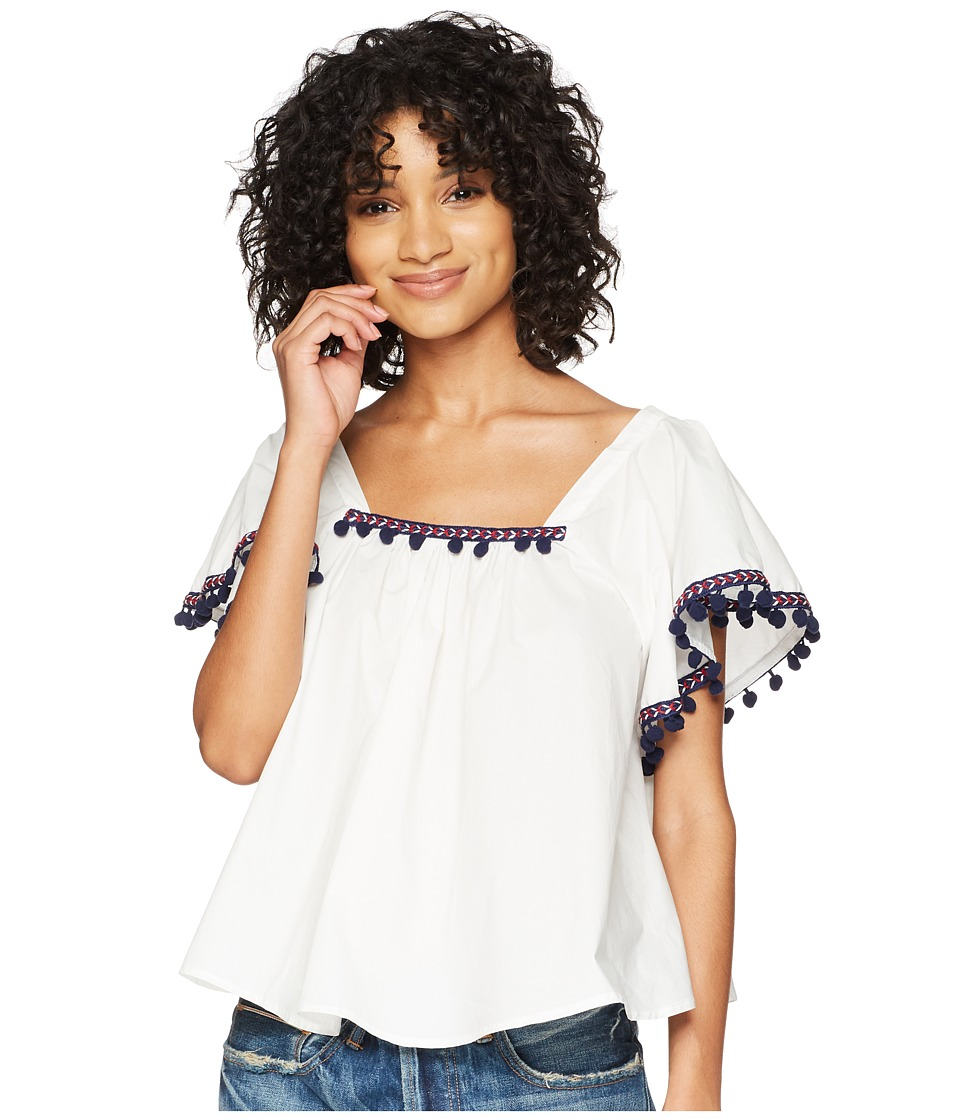 Dakota Makari Flutter Sleeve Top with Pom Poms (White) Wo...