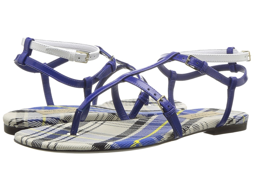 Burberry Vintage Check and Leather Sandals (Purple/Blue) Sandals