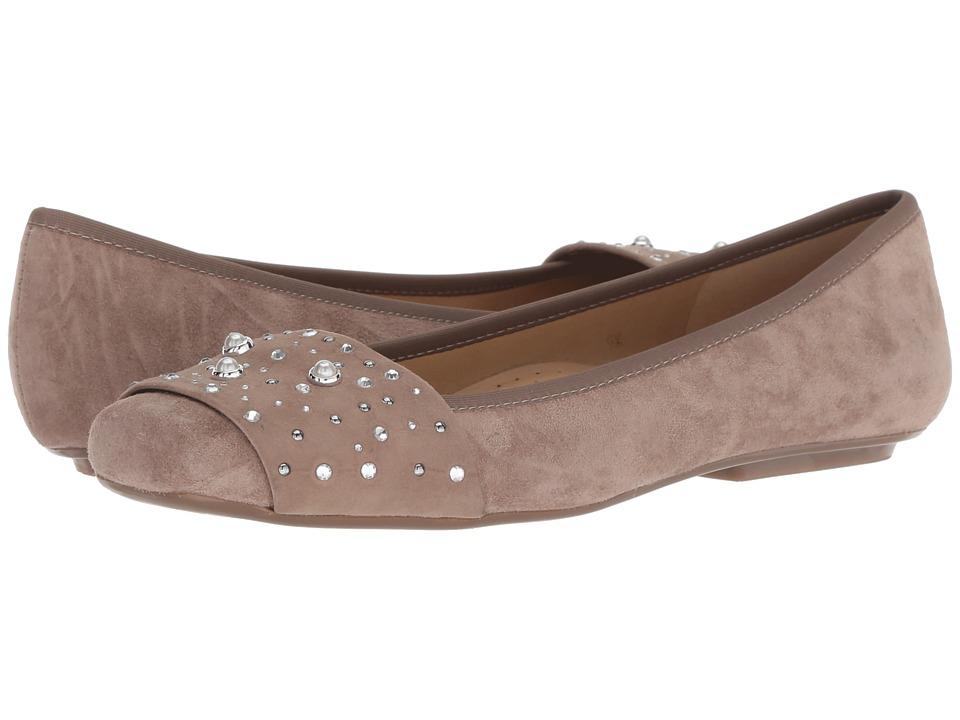 Vaneli Nasim (Truffle Suede/Truffle Elastic/Clear Stones/Silver/White Pearl) Flats
