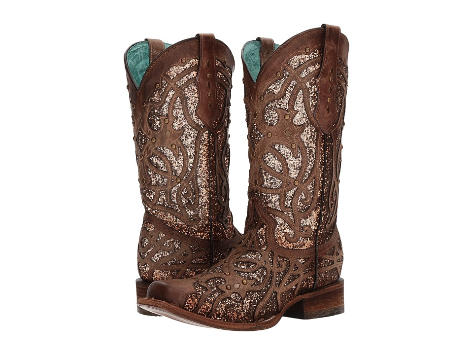 Corral Boots C3275 (Brown/Orix Glitter) Women's Cowboy Boots