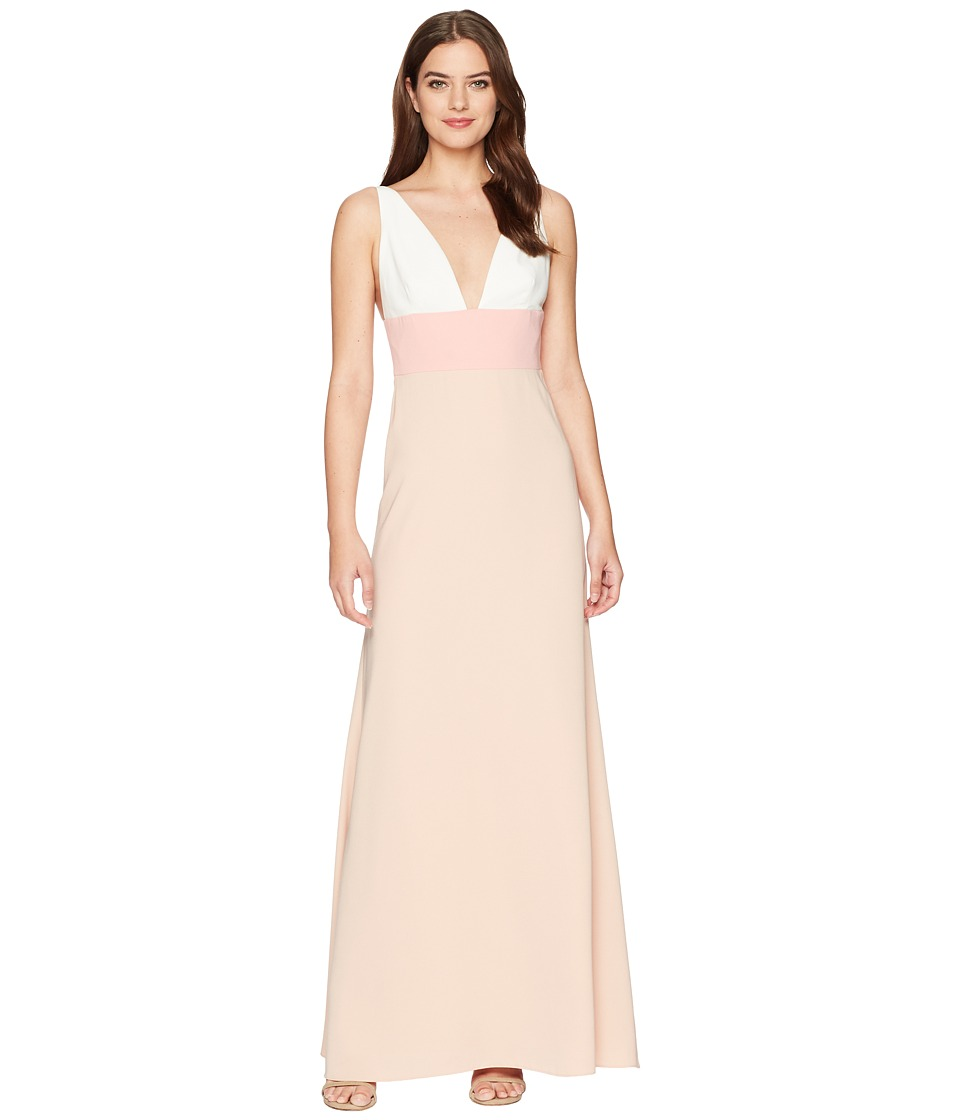 JILL JILL STUART - V-Neck Color Block Gown (Cream/Pink/Rose) Womens Dress