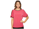 Ivanka Trump Matte Jersey Cold Shoulder with Piping Blouse