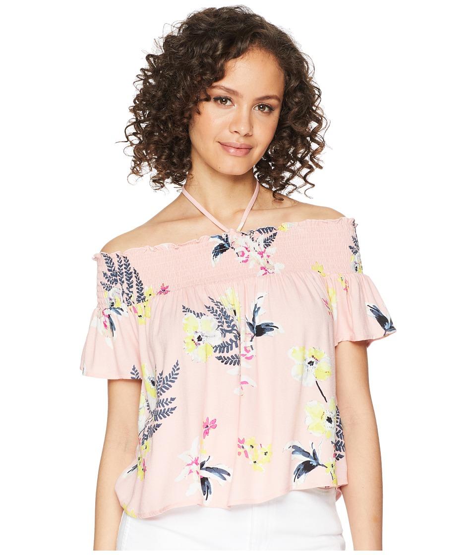 Jack by BB Dakota - Jordyn Golden State Floral Printed Off the Shoulder Top (Coral Pink) Womens Dress