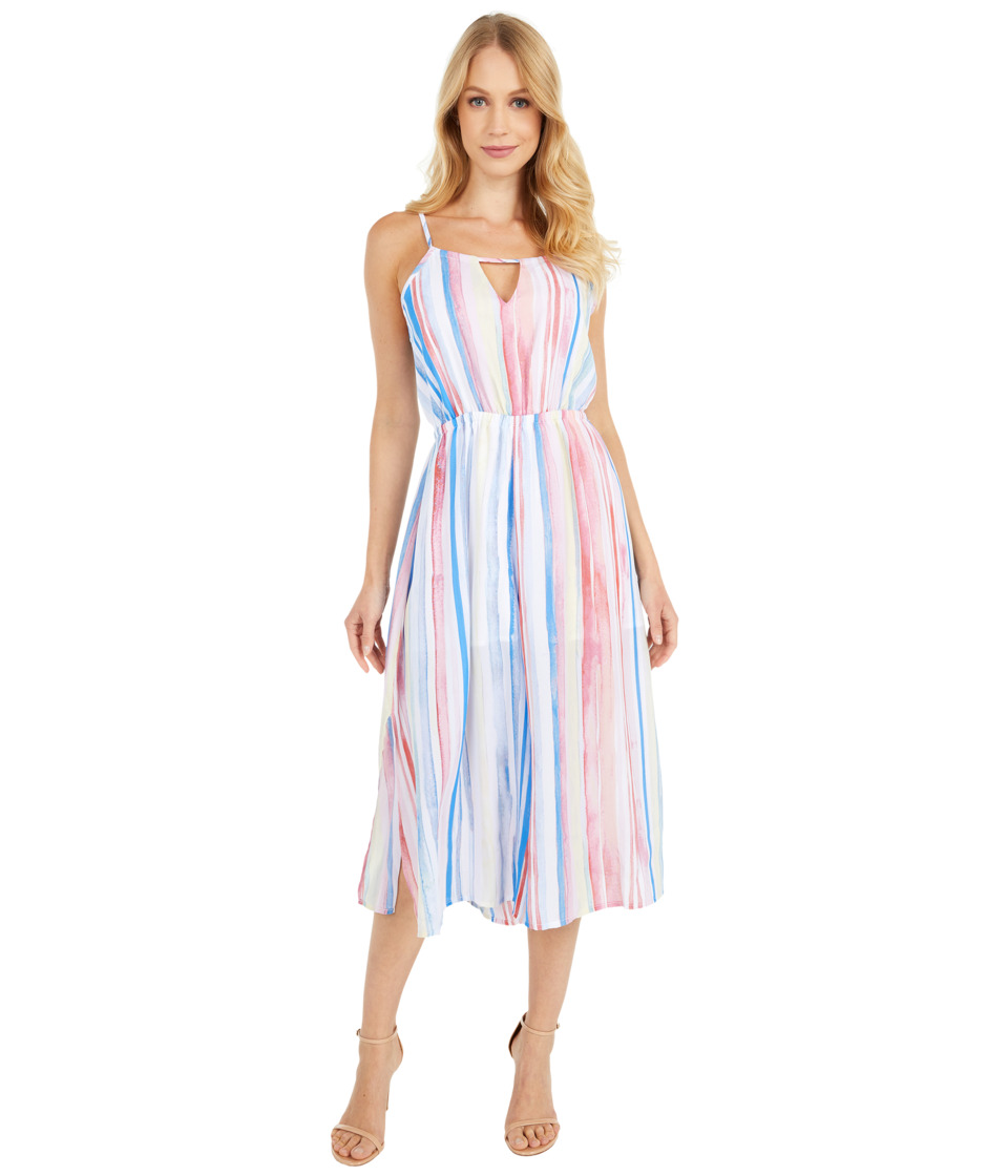 Jack by BB Dakota - Lovy Watercolor Stripe Printed Cropped Jumpsuit (Cloud White) Womens Jumpsuit & Rompers One Piece