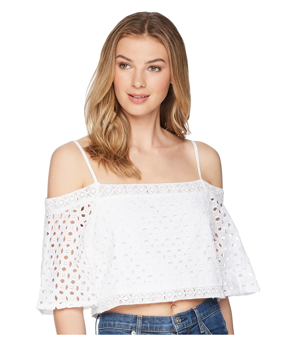 Jack by BB Dakota - Laina Eyelet Crop Top (Bright White) Womens Clothing