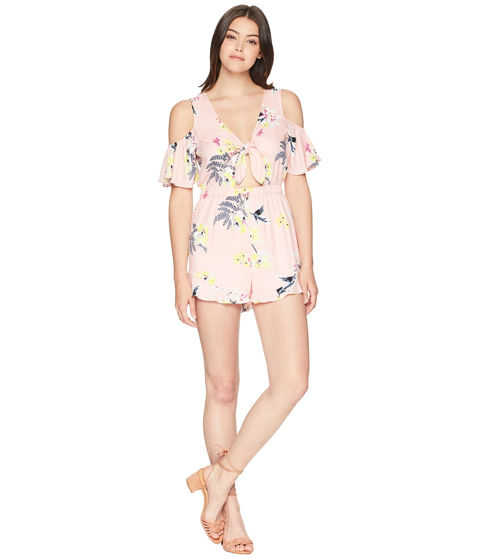 Jack by BB Dakota - Skylar Golden State Floral Printed Tie Front Romper (Coral Pink) Womens Jumpsuit & Rompers One Piece