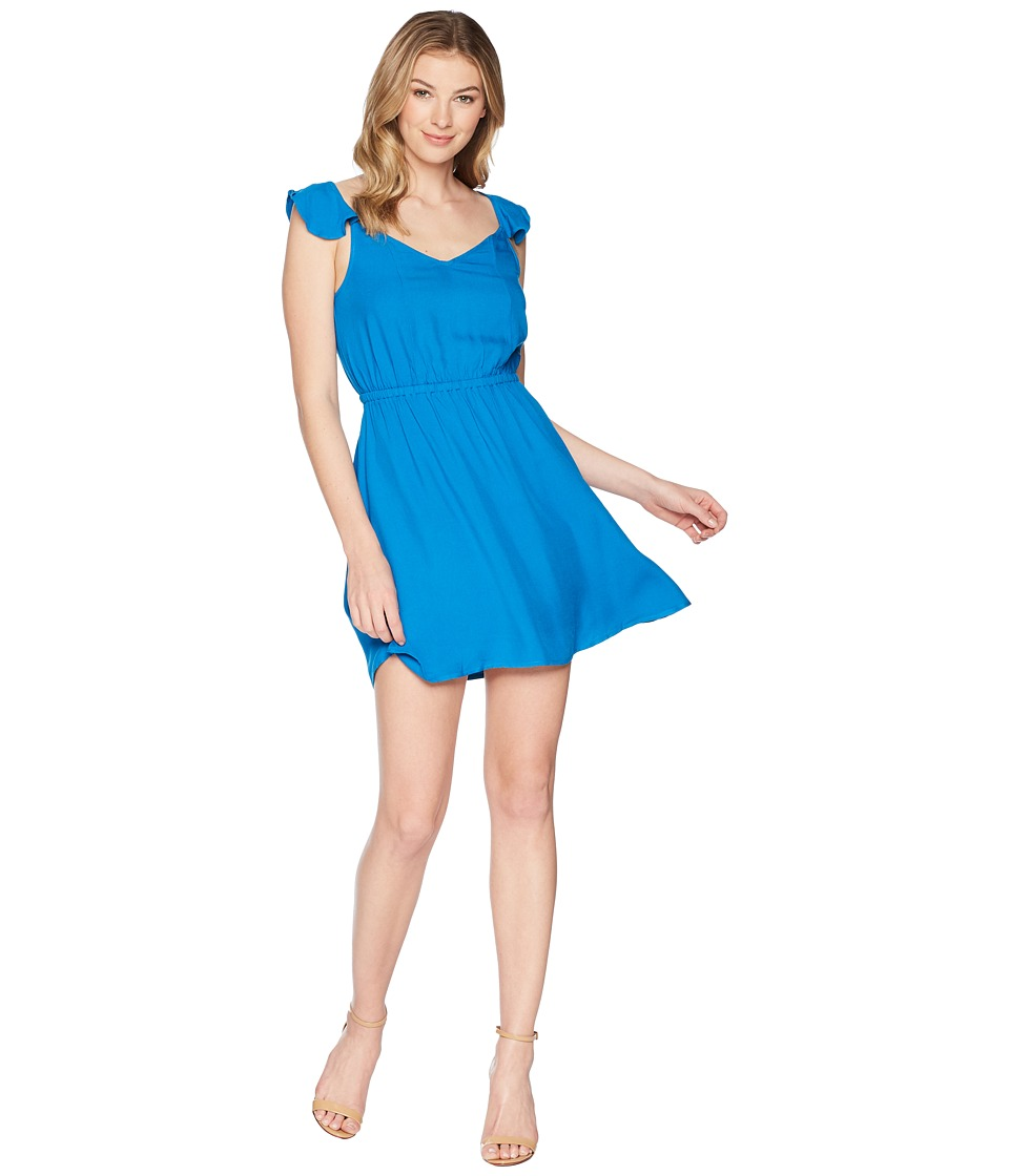 Jack by BB Dakota - Annalise Flutter Sleeve Open Back Dress (Azure Blue) Womens Dress