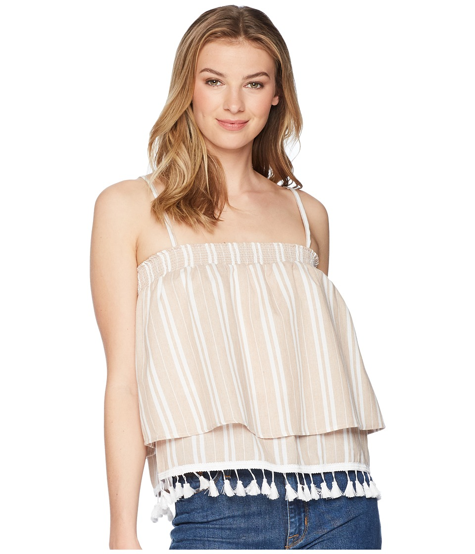 Jack by BB Dakota - Brielle Stripe Top with Tassel Trim (Beach Beige) Womens Clothing