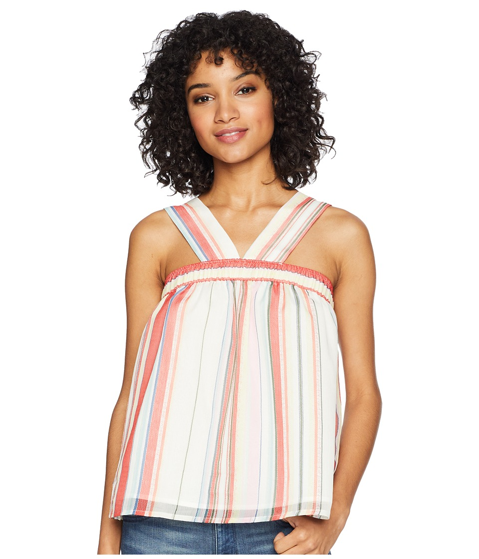 Jack by BB Dakota - Julianna Umbrella Stripe Printed Chiffon Top (Cloud White) Womens Clothing