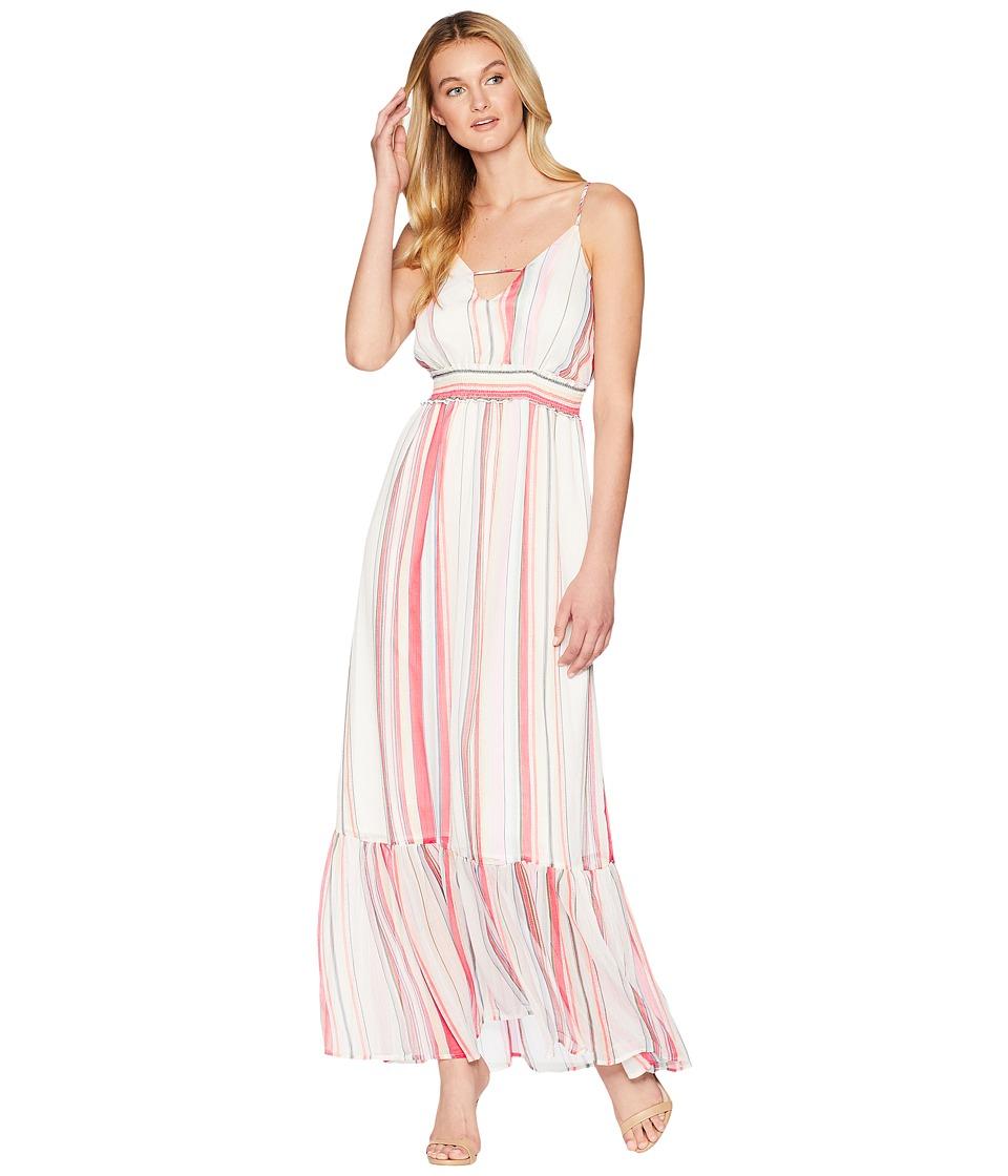 Jack by BB Dakota - Luciana Umbrella Stripe Printed Crinkle Chiffon Maxi Dress (Cloud White) Womens Dress