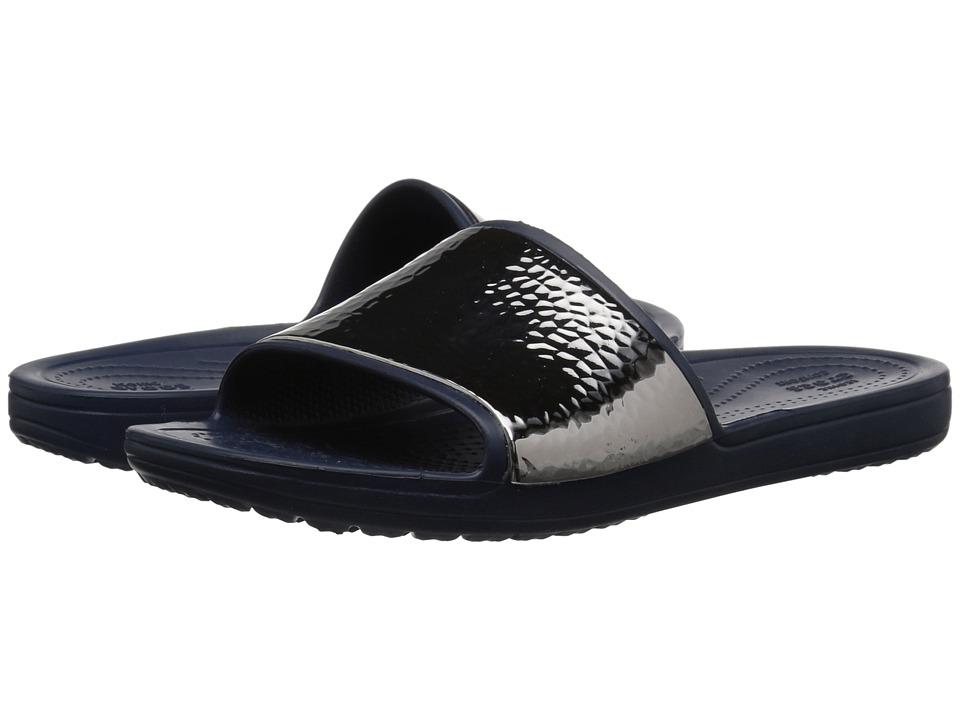 Crocs Sloane Hammered Metallic Slide (Navy/Navy) Women's Shoes