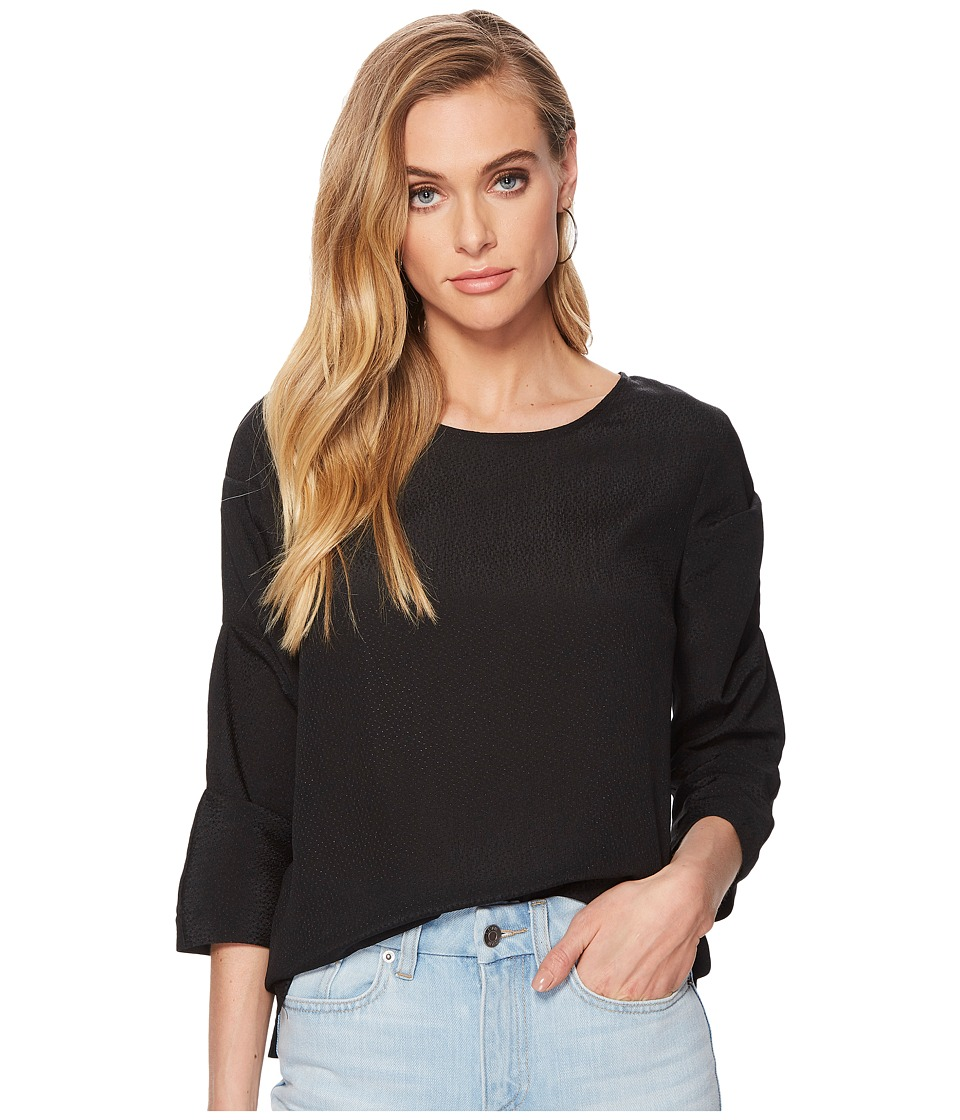 1.STATE - Crew Neck Pintuck Sleeve Blouse (Rich Black) Womens Blouse