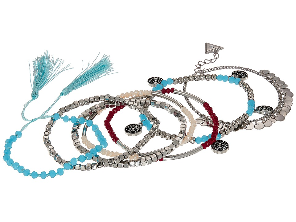 GUESS - Seven-Piece Mixed Stretch Bracelet Set (Silver/White/Blue) Bracelet
