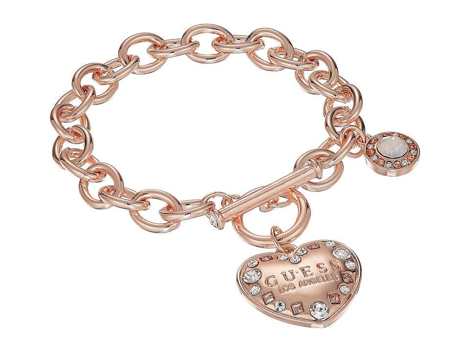 GUESS - Logo Heart Toggle Bracelet (Rose Gold/Crystal 1) Bracelet