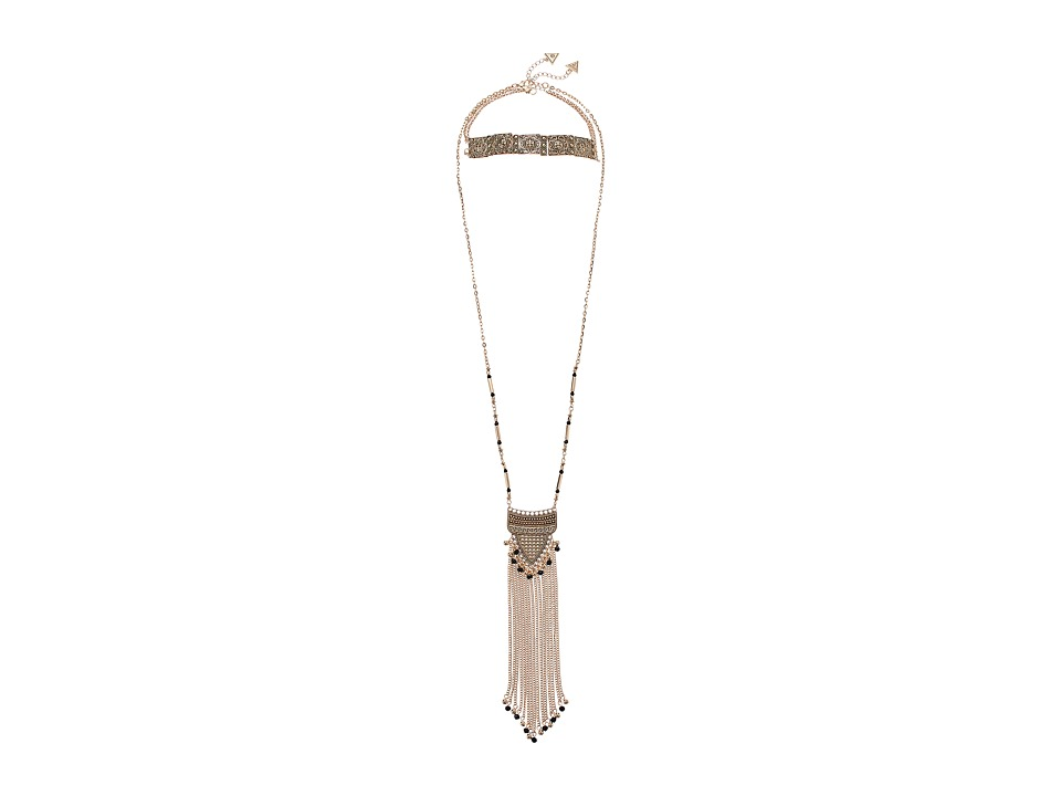 GUESS - Choker and Long Fringe Pendant Duo Necklace (Gold/Black) Necklace