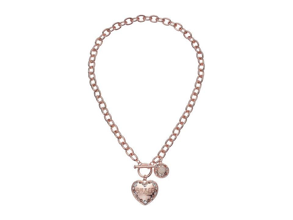 GUESS - Logo Heart Toggle Front Necklace (Rose Gold/Crystal) Necklace