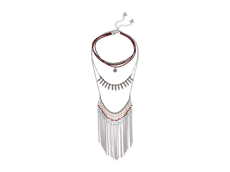 GUESS - 3 Tier Choker and Finge Necklace (Silver/Burgundy/Blue) Necklace