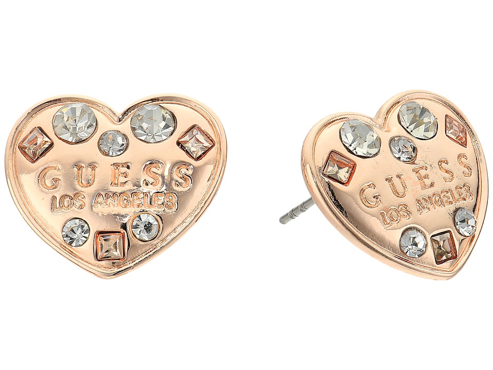 GUESS - Logo Heart Button Earrings (Rose Gold/Crystal) Earring