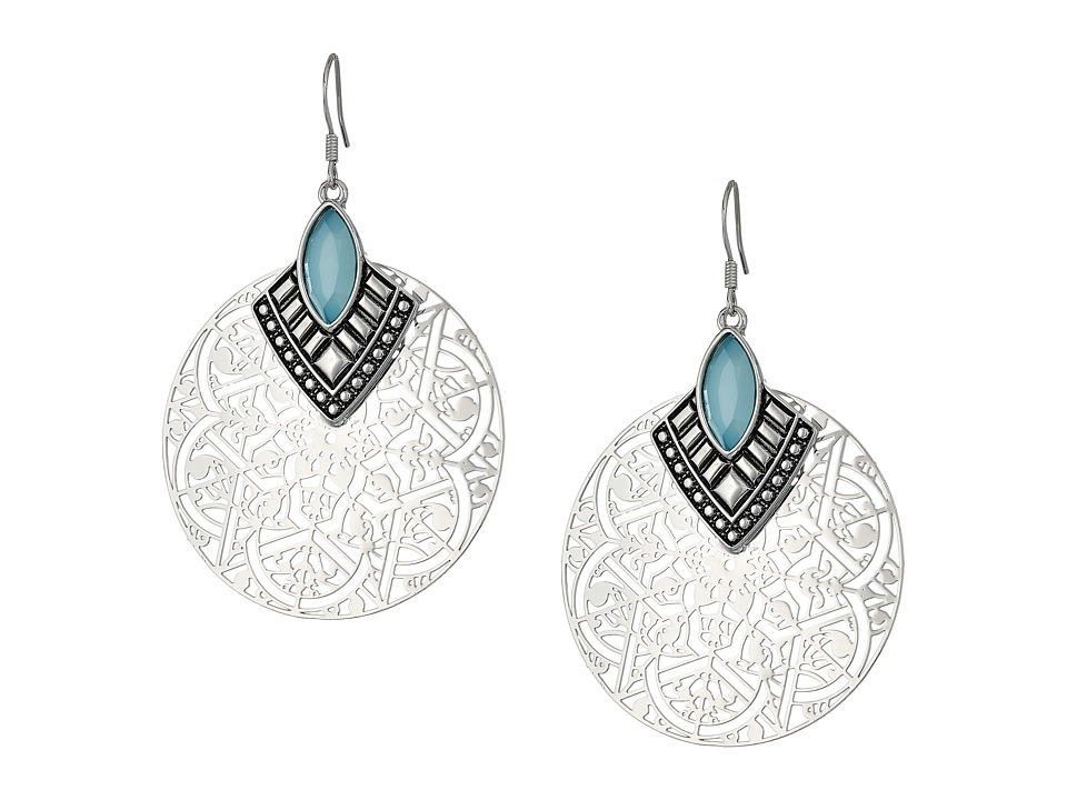 GUESS - Filigree Disc with Stone Drop Earrings (Silver/Blue) Earring