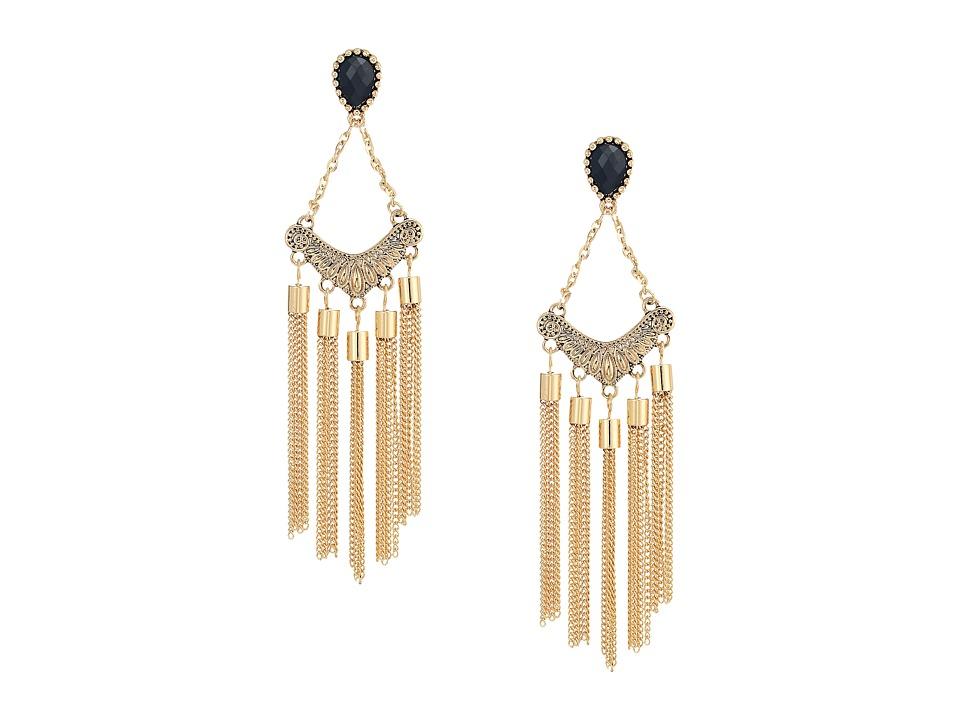 GUESS - Stone Top Chain Fringe Linear Earrings (Gold/Black) Earring