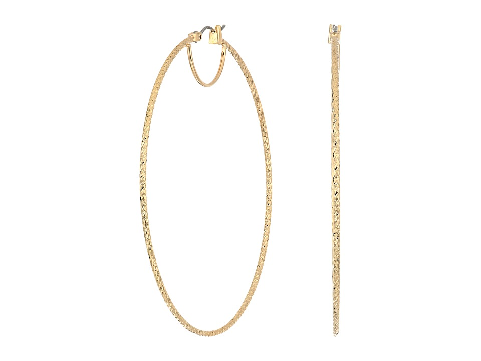 GUESS - Large Textured Snap Close Wire Hoop Earrings (Gold) Earring