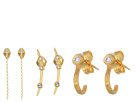 Dogeared 3 Earrings Set, CZ J Bar Stud, Star Stud with Chain, Crystal Arc Stud
