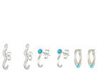 Dogeared 3 Earrings Set, Snake J Bar Stud, Turquoise Dotted Huggie, Turquoise J Bar Stud