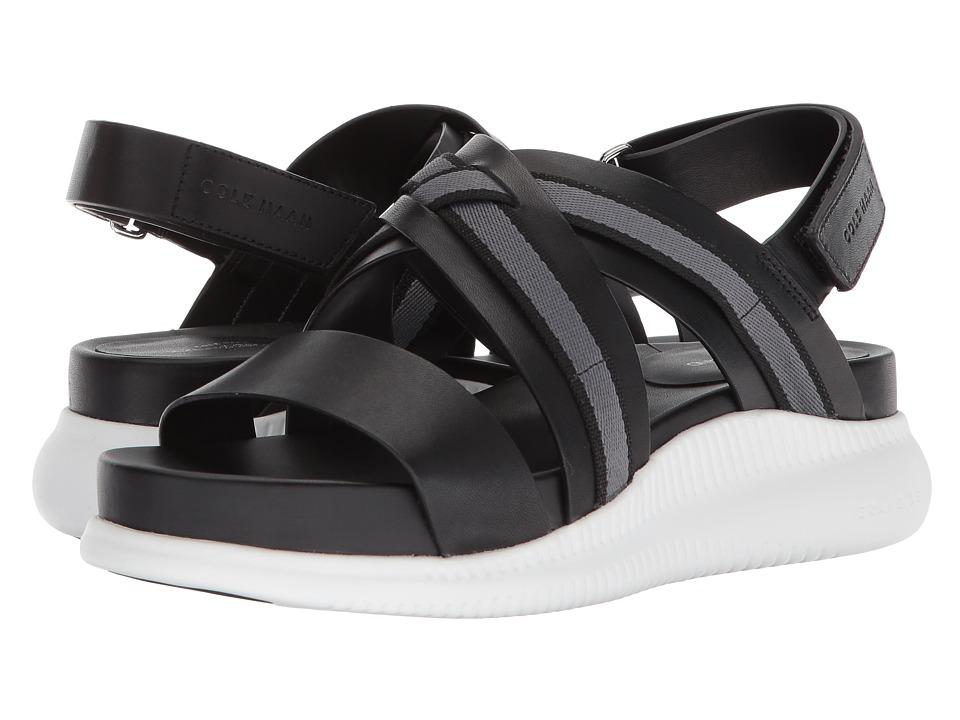 Cole Haan 2.Zerogrand Crisscross Sandal (Black Leather/Webbing/Optic White) Women