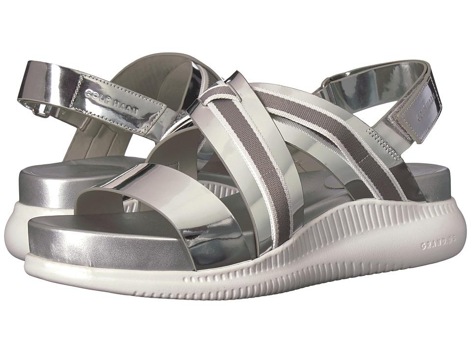 Cole Haan 2.Zerogrand Crisscross Sandal (Ch Argento Specchio/Ironstone Ivory Webbing/Optic White) Women