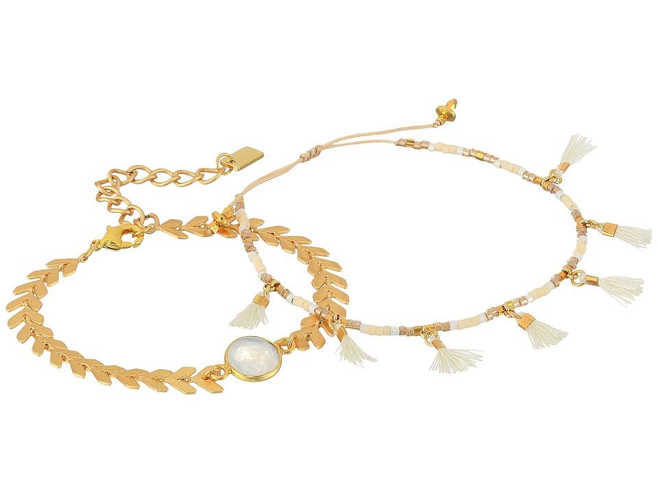 Chan Luu - Chevron and Tassel Adjustable Bracelets (Moonstone) Bracelet