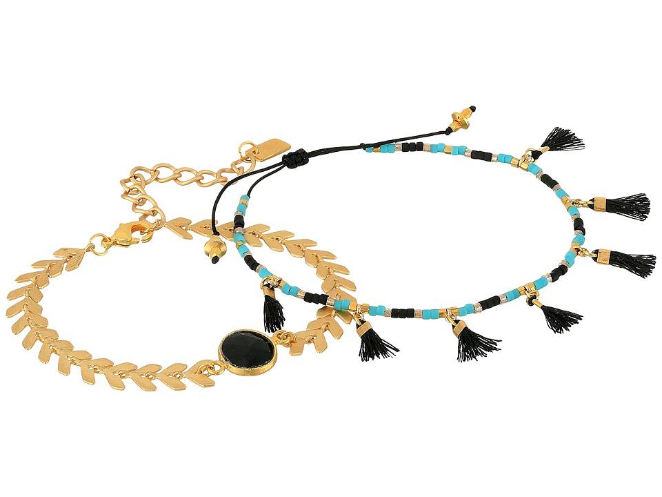 Chan Luu - Chevron and Tassel Adjustable Bracelets (Onyx) Bracelet