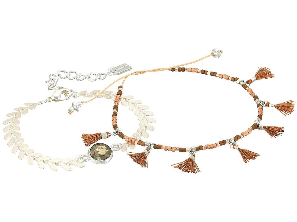 Chan Luu - Chevron and Tassel Adjustable Bracelets (Pyrite) Bracelet