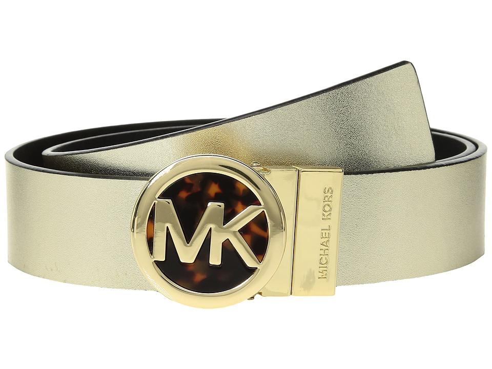 MICHAEL Michael Kors Smooth Leather Reversible Belt (Metallic Gold/Black) Women