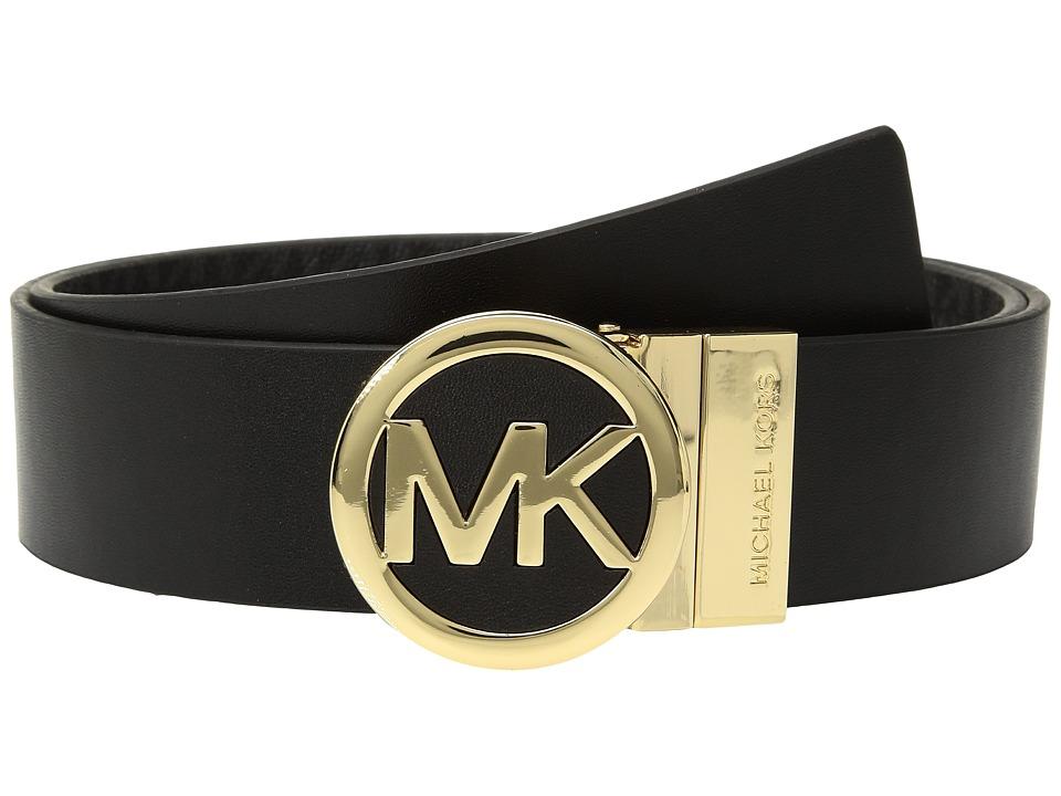 MICHAEL Michael Kors Smooth Leather Reversible Belt (Black) Women