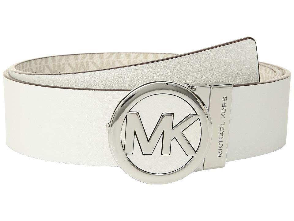 MICHAEL Michael Kors Smooth Leather Reversible Belt (Cream) Women