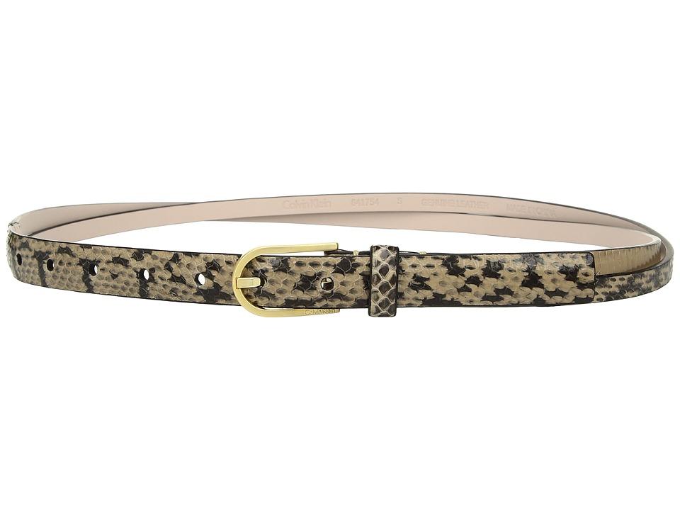 Calvin Klein 20mm Snake Panel w/ Crossed Straps Belt (Natural) Women