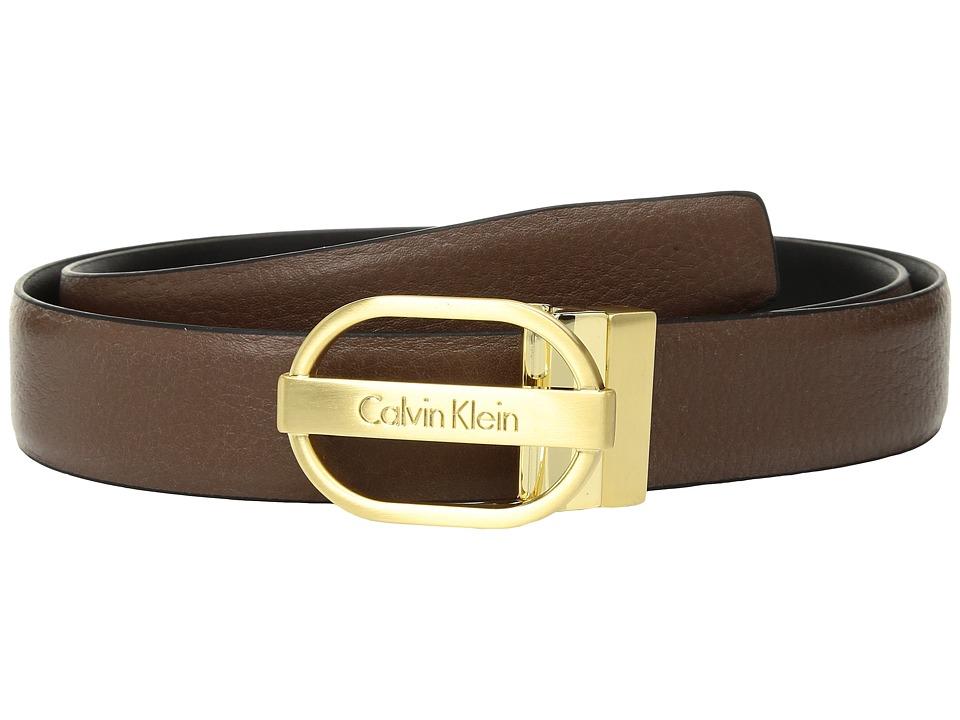 Calvin Klein 30mm Reversible Pebble to Smooth Belt (Dark Cognac/Black) Women