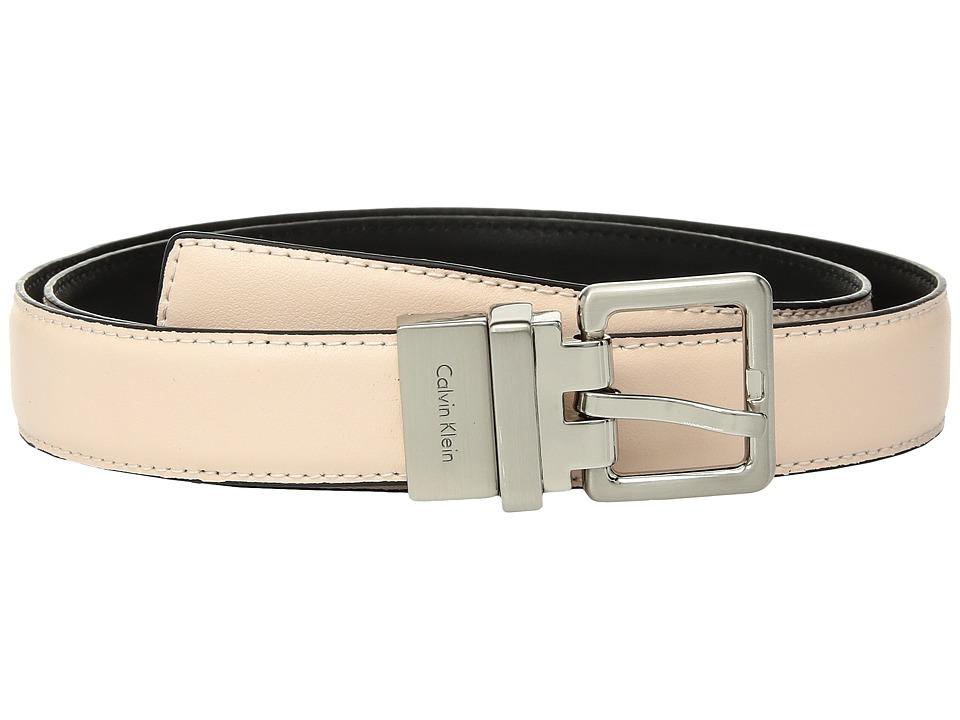 Calvin Klein 25mm Reversible Smooth to Smooth Belt (Light Rose/Black) Women