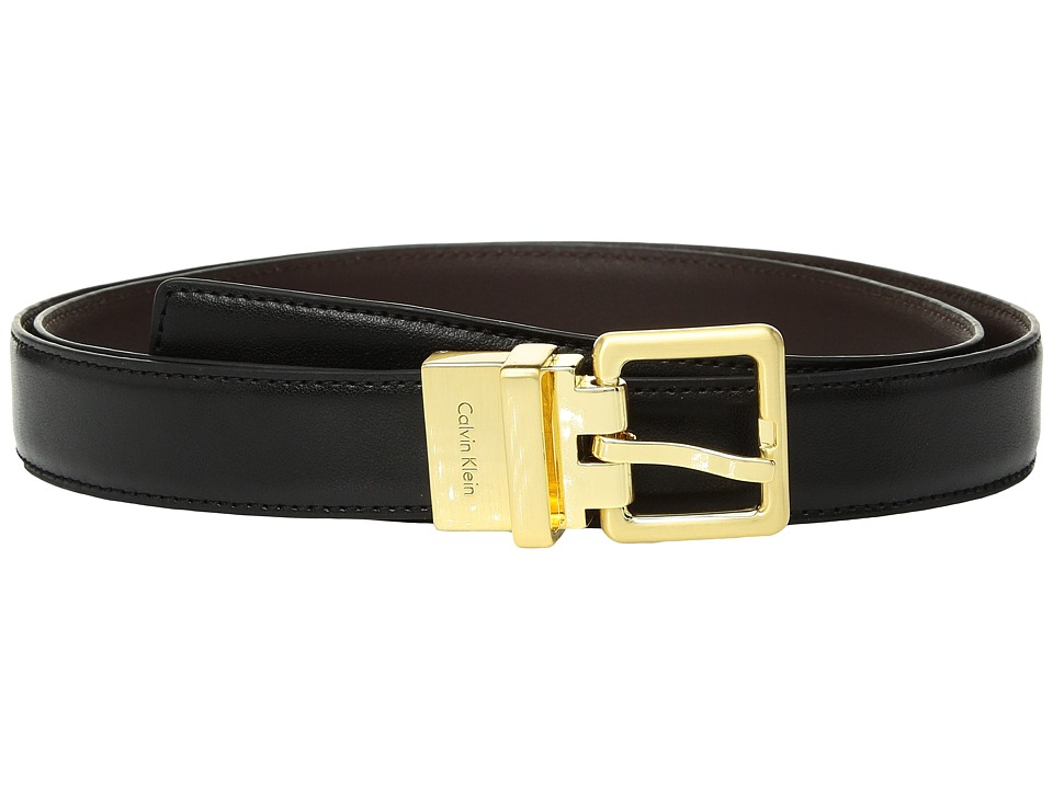 Calvin Klein 25mm Reversible Smooth to Smooth Belt (Black/Brown) Women